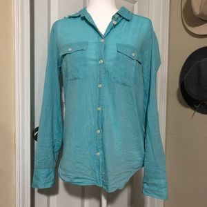 """J. Crew """"The Perfect Shirt"""" in Robins Eggs Blue"""